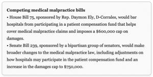Competing medical malpractice bills